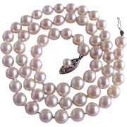 Vintage 14kt Japanese Akoya Cultured Pearl Fine AA Graduated Necklace with *Certified Appraisal*$1810