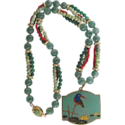 Little Creations 18kt GP Chinese Export Enamel Cloisonne with Multi Green Jadeite & Red Coral Bead Necklace