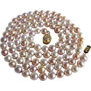 "Vintage 18kt GP Akoya Japanese Cultured Pearl Luxury Quality Natural Peach Tones 37"", 7-7.5mm /MOP Pearl Box Closure *Certified Appraisal*$3800"