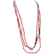 Vintage Faience Terracotta Red & Sky Blue Bead Eternity Boho Chic Style 70 Inch Necklace