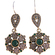 Victorian Sterling GP Emerald Colored Paste & Faux Diamond Paste Pierced Earrings with *Certified Appraisal* $1250