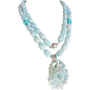 Joie de la Jewel- Amazonite Carved Peony Pendant & Beads with Turquoise accents Flapper Necklace