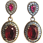 Vintage Sterling Silver GP Faux Simulated Ruby Paste European Style Pierced Earrings
