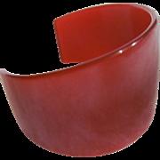 Art Deco Cuff Red Translucent Bakelite Bangle