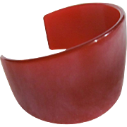 Art Deco Cuff Red Translucent Bakelite Bangle
