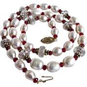 Joie de Jewel 14kt Japanese Keishi Freshwater Cultured Pearl Necklace Rock Crystal/Antique Red Facetted & GP Spacer Necklace Certified Appraised Value $795