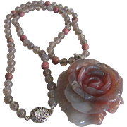 Joie de Floral Carved Agate Rose Pendant with Agate & Rhodonite beads & Rhinestones SP Claps Necklace Certified Appraisal $1385