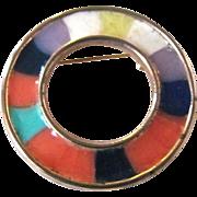 Vintage Mid Century Rainbow Enamel Hand Crafted Circle Brooch