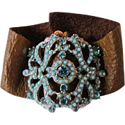 Upcycled Leather & Paste Rhinestone and Glass Turquoise Cabochon Pot Metal Slide clip Bracelet