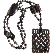 Art Deco Chinese Nephrite Enhanced Jade Pendant and Variety of Carved Beads Necklace Certified Appraisal $3055