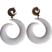 Mid Century Pop Art White Lucite Swirl Large Scale Pierced Earrings