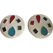 Vintage Pop Art Style Enamelled Multi Colored Huge Scale Pierced GP Earrings