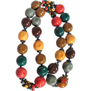 Mid Century Pop Art Style Multi Colored Chunky Bead Necklace