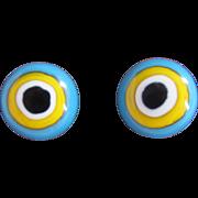 Mid Century NOS Pop Art Style Bull's Eye Enamelled Pierced Earrings