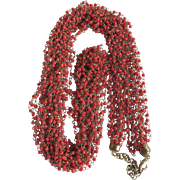 """Mid Century Red Coral Seed Bead & Brass wired Cascading 40"""" 8 Strand Torsade Necklace"""