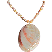 Upcycled  Abalone Whole Shell Pendant with Dyed Freshwater Nugget Cultured Pearls Necklace