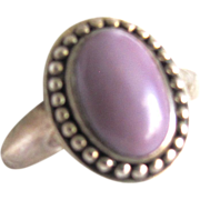 Vintage Chinese Lavender Jadeite Cabochon Sterling Silver Ring