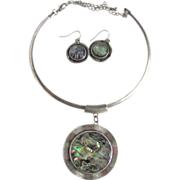 Vintage Abalone under Facetted Lucite Earrings and Chrome Pendant Necklace
