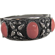 Vintage Victorian Revival Italian Cannetille Japanned Low Silver Coral Glass Cabochon Bracelet