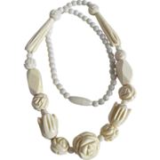 Vintage Carved Bone Graduated Assortment of Beads Necklace
