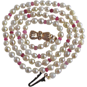 Vintage 9ct Gold Cultured Pearl, with Genuine Ruby, Pink Sapphire Bead  Necklace with Certified Appraisal $1025
