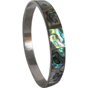 Mid Century Inlaid Abalone Chrome Bangle Bracelet