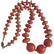 "Vintage Appraised $1450 GP Natural Sponge Coral Ovoid 25"" Graduated Necklace"