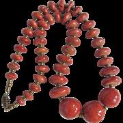 "Vintage Appraised $1450 GP Natural Sponge Coral Ovoid 25"" Graduated Necklace"