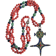 Arts & Crafts French African silver Enamelled Pendant with Coral, Lapis & Peking Glass Jade Bead Necklace Certified Appraisal $1350