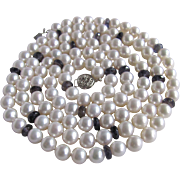 "14kt Freshwater Cultured Pearls with Iolite Rondelles 38"" AA Certified 7-7.5mm Appraised Value $3775"
