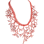 14kt GF Enhanced Medium Oxblood Coral In Natural Coral Motif Necklace Certified Appraised Value $2650