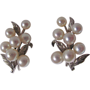 """Vintage """"AA"""" Finest Quality Akoya Cultured Pearls with Silver Engraved Setting on Screwback Earrings /Certified Appraisal Value $715"""