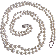 Vintage 14kt 2 Strand AA QUALITY Akoya Graduating Cultured Pearl 3.5-7.5mm Necklace Certified Appraisal $3465