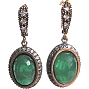 Victorian Revival Vermeil Dyed Chalcedony & Faux Diamond Pierced Earrings Certified Appraisal $885