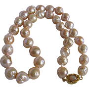 Appraised $2765 18kt GP Chinese WRINKLE Freshwater Pearl 12mm With Moonstone Necklace