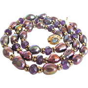 Little Creations Remix 18kt GP Chinese Freshwater Cultured Pearls Treated /Amethyst / Labradorite Necklace Certified Appraisal $1255
