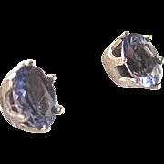Vintage Tanzanite Facetted Gemstone in Sterling Silver Pierced Earrings Certified Appraisal $665