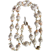Vintage Miriam Haskell Conch Shell Tips , Abalone MOP, White Coral Matching Bracelet & Necklace