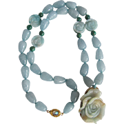 Chinese Rose Carved Dyed Jadeite 18kt GF Labradorite Clasp Quartz Beads, Carved Dyed Amazonite Beads Pendant Necklace Certified Appraisal $2375
