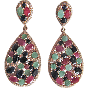 Vintage Rose Gold On Sterling Silver Genuine Ruby, Blue Sapphire & Emerald Paisley Drop Pierced Omega Back Earrings Certified Appraisal $2235