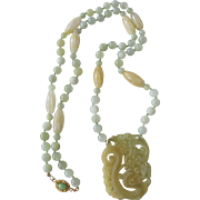 Little Creations Chinese Peking Glass Pendant with Dyed Jade Beads 18kt GP Clasp with Jadeite Cabochon Necklace Certified Appraisal $1150