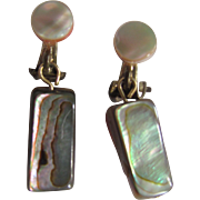 Vintage Boho Chic Abalone MOP Clip Earrings