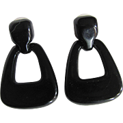 Art Deco Revival 70's Black Lucite Geometric Pierced Earrings