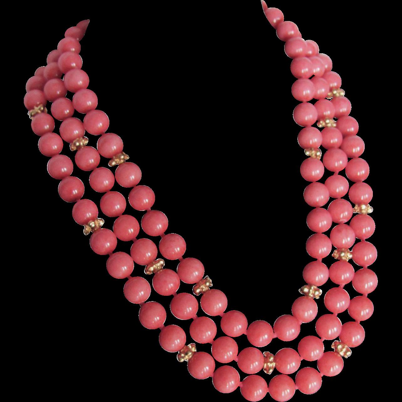 vintage quartz in a coral pink color 3 strand 10mm bead