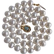 """Joie de Jewel October Birthstone 18kt GP Opal Cabochon Clasp with 8mm Chinese Freshwater Cultured Pearls 19 1/2"""" Necklace"""
