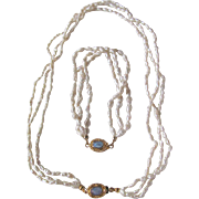 "Vintage 18kt GP Opal Cabochon Clasp with Japanese Freshwater ""Rice""Pearls Triple Strand Necklace & Bracelet"