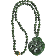 Little Creations Sterling Silver GP  Jadeite Cabochon Clasp with Carved Glass Pendant and Graduated Dyed Jadeite Beads 18 Inch Necklace