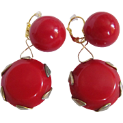 Upcycled Red Swirl Cabochon Bakelite Drop GP Dormeuse  Pierced Earrings