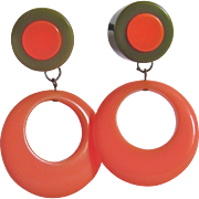 Upcycled Bakelite Inlaid Cabochon & Bakelite Coral Hoop Drop Clip Earrings