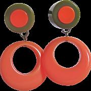 Vintage Bakelite Inlaid Cabochon & Bakelite Coral Hoop Drop Clip Earrings
